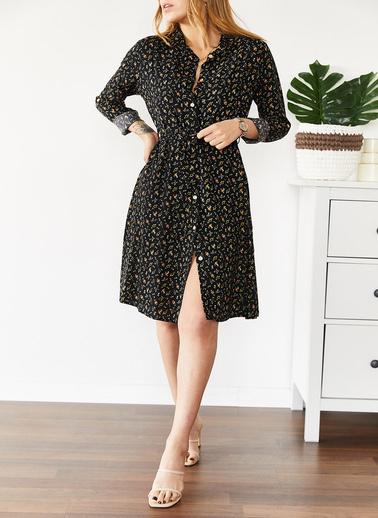 XHAN Gömlek Yaka Elbise 0Yxk6-43573-02 Siyah